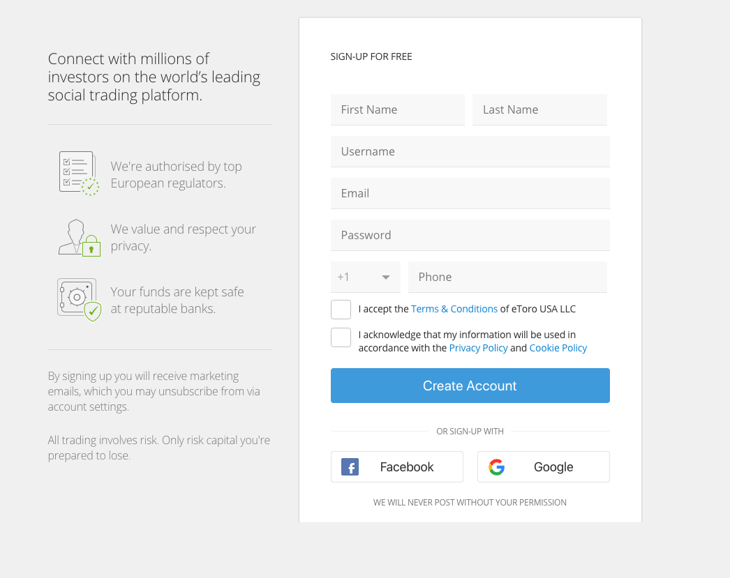 eToro open a share dealing account