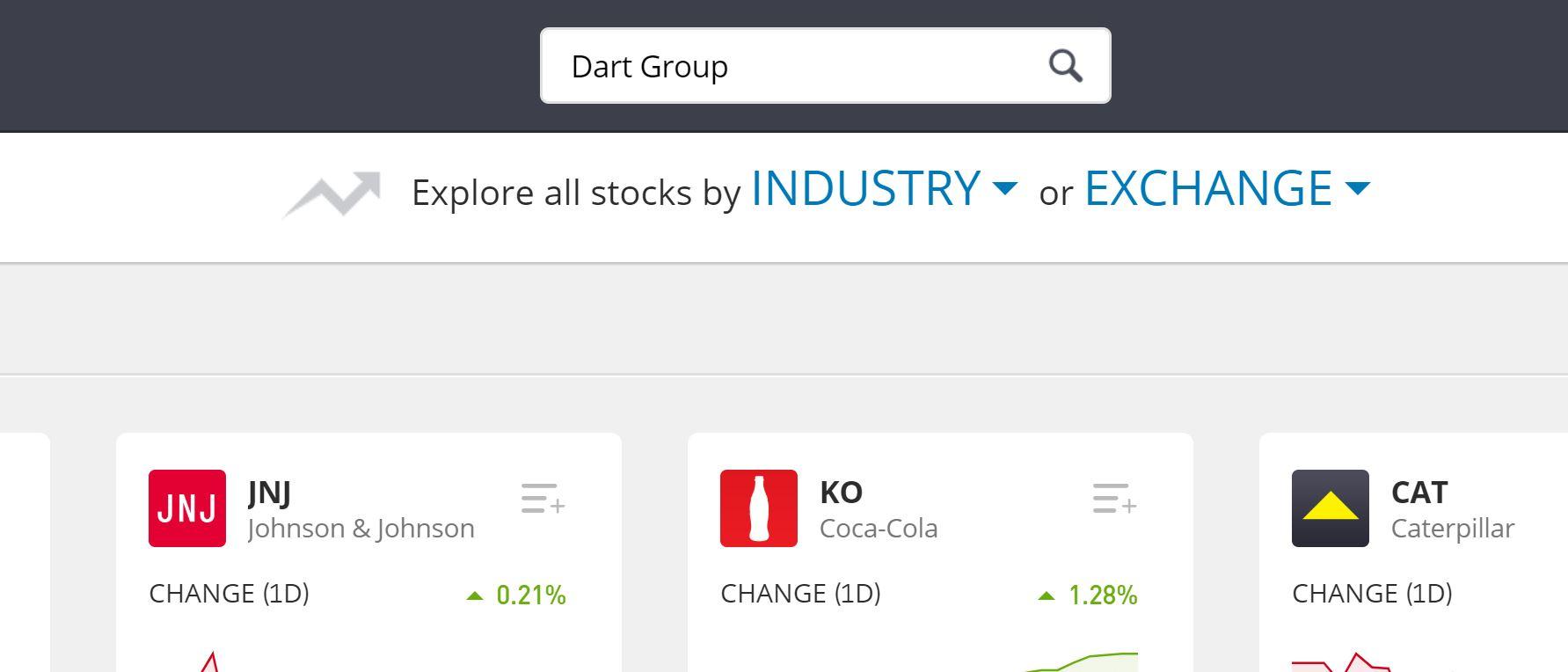Search for Dart Group on eToro
