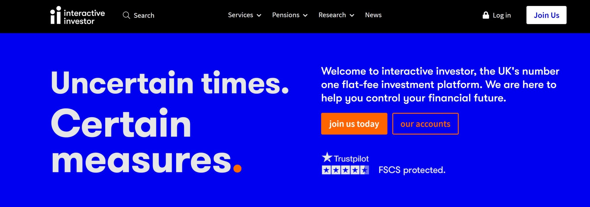 Interactive Investor homepage