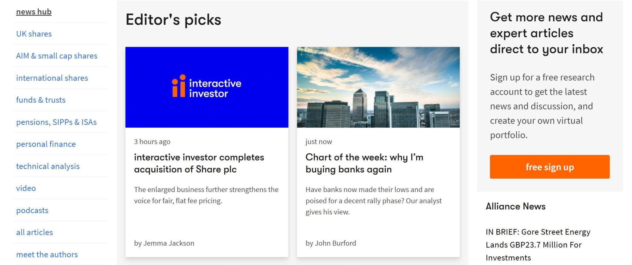News hub at Interactive Investor