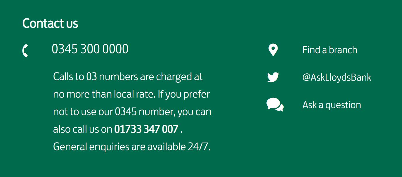 Lloyds contact information