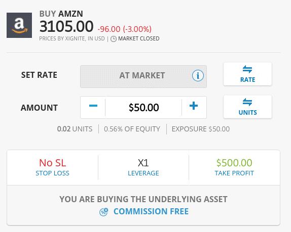 Buy fractional shares on eToro