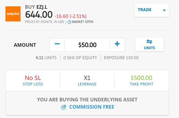 Buy Easyjet shares on eToro