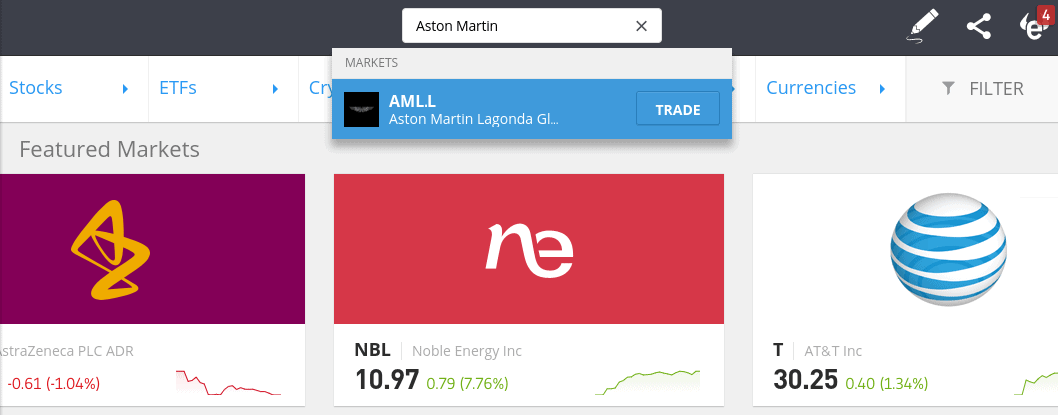 Buy Aston Martin shares at eToro