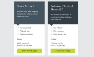 Account options and fees at The Share Centre