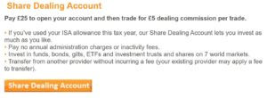 iWeb Share Dealing account pricing