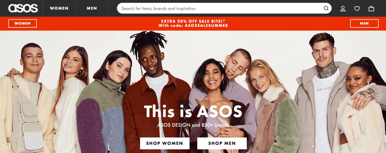 asos shares website