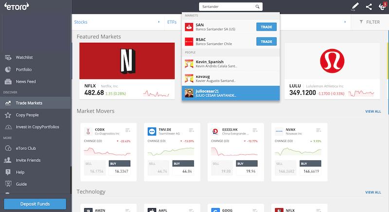 Search for Santander shares on eToro