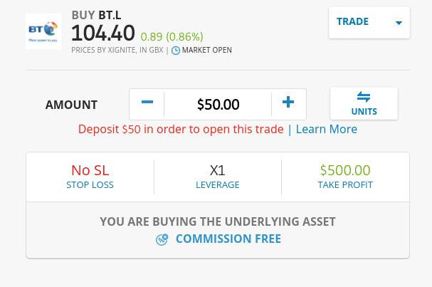 Buy BT shares on eToro