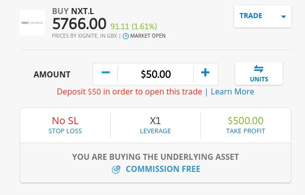 Buy Next shares on eToro