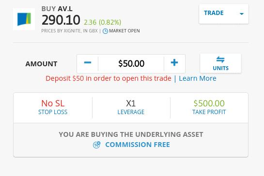 Buy Aviva shares on eToro