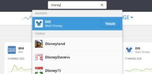 Search for Disney shares on eToro