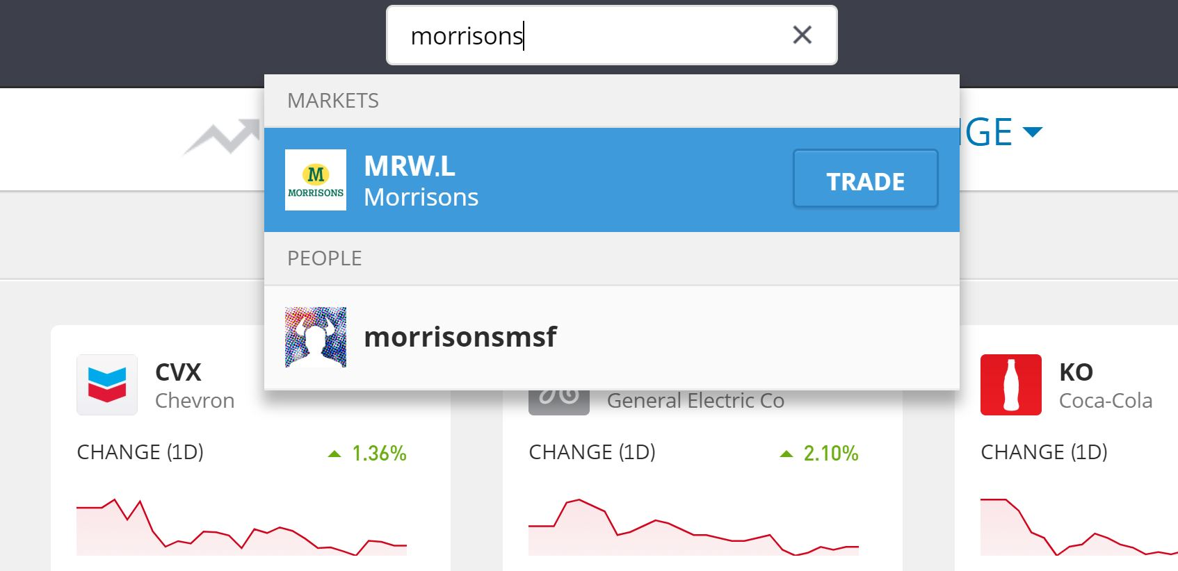 Search for Morrisons shares on eToro