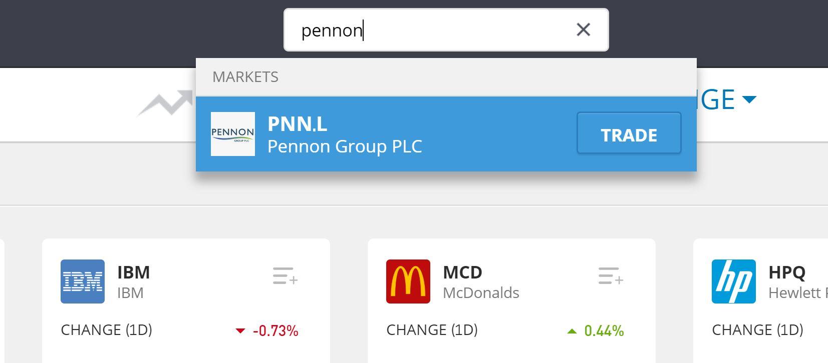 Search for Pennon shares on eToro