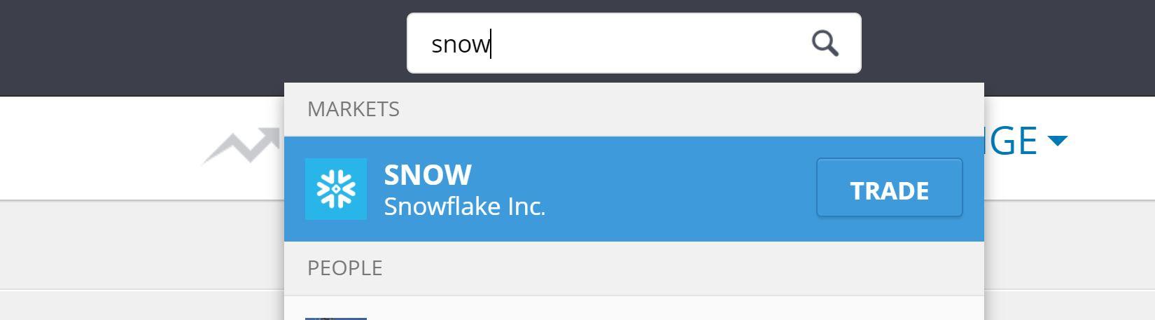 Buy Snowflake shares on eToro