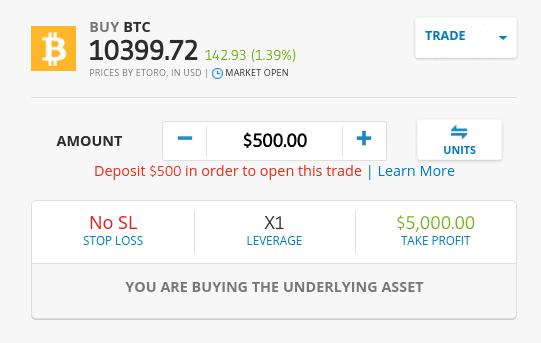 Cryptocurrency trading on eToro