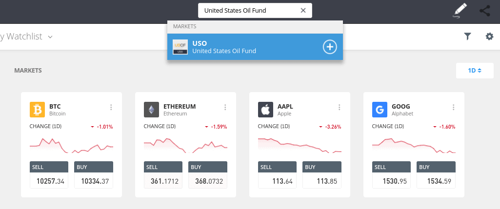 Oil trading on eToro