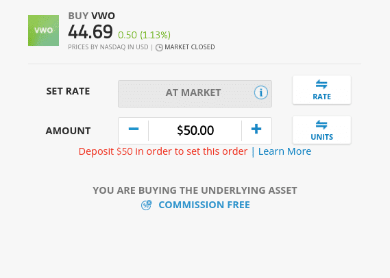 Invest in a fund at eToro
