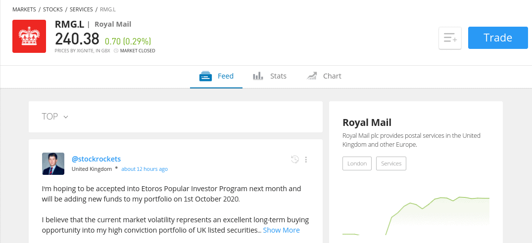 Trade Royal Mail shares at eToro