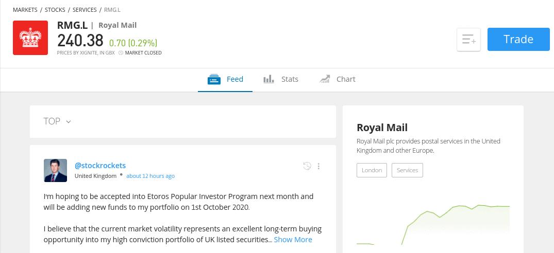 Trade Royal Mail shares at eToro