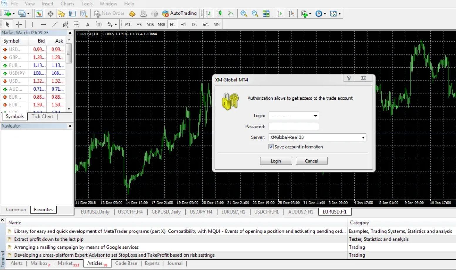Logging into MetaTrader 4 for XM