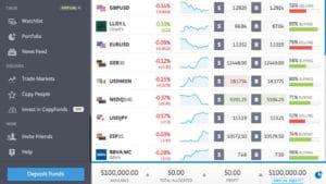 eToro paper trading platform