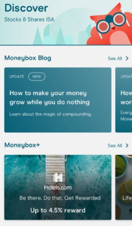Moneybox Discover tab