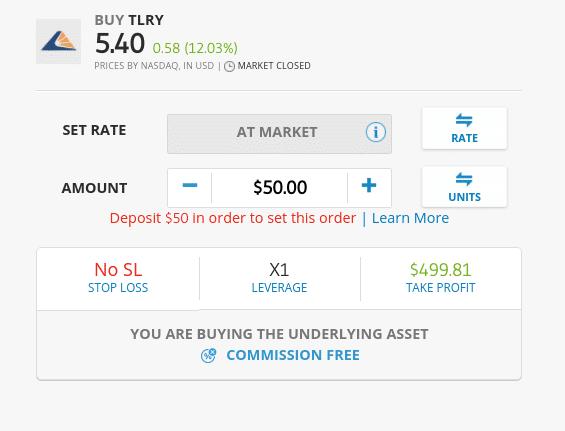 Buy Tilray stocks at eToro
