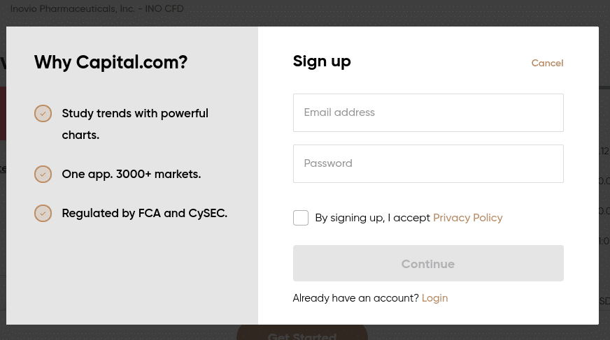 inovio shares at Capital.com
