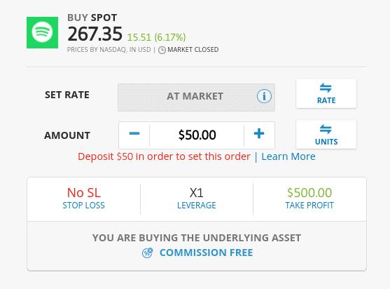 Buy Spotify Shares at eToro