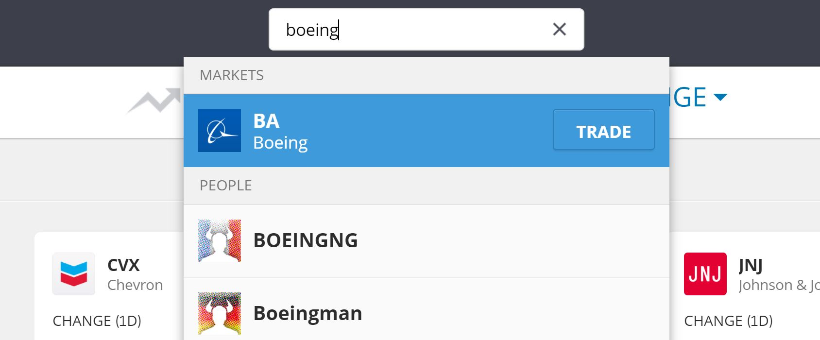 Search Boeing Shares on eToro