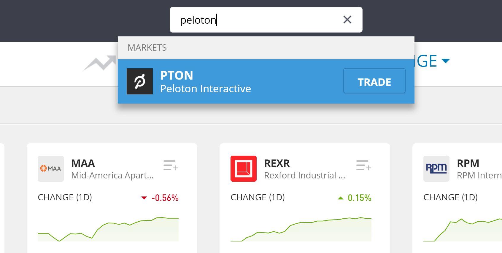 Search Peloton shares on eToro