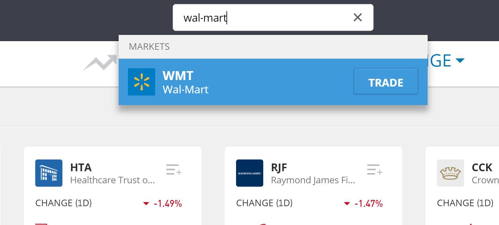 Search Walmart on eToro