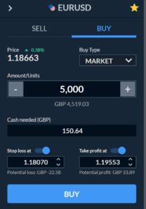 Place a trade on the Skilling mobile app