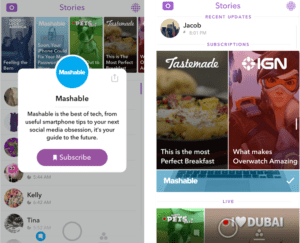 Snapchat app Discover section