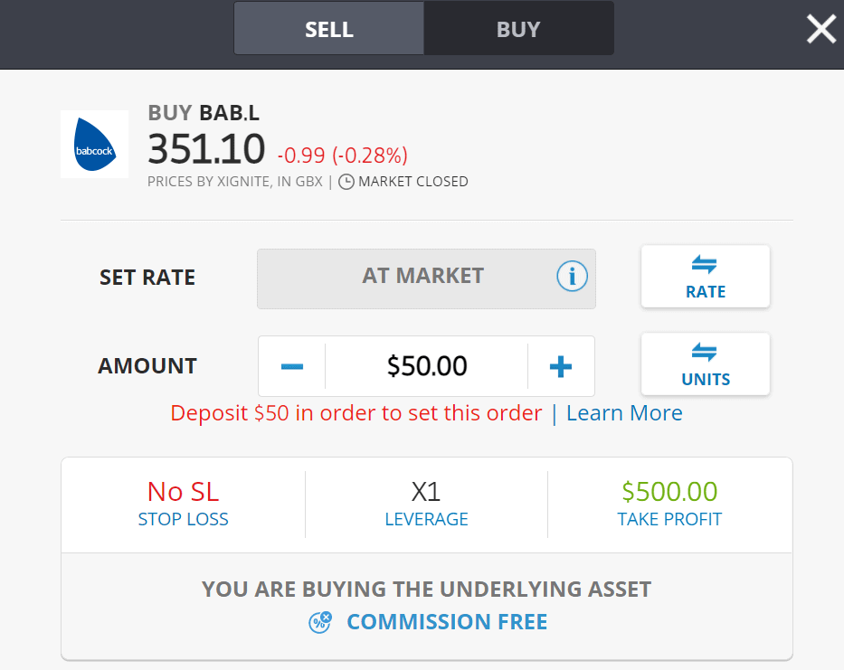 BUY BABCOCK SHARES ETORO