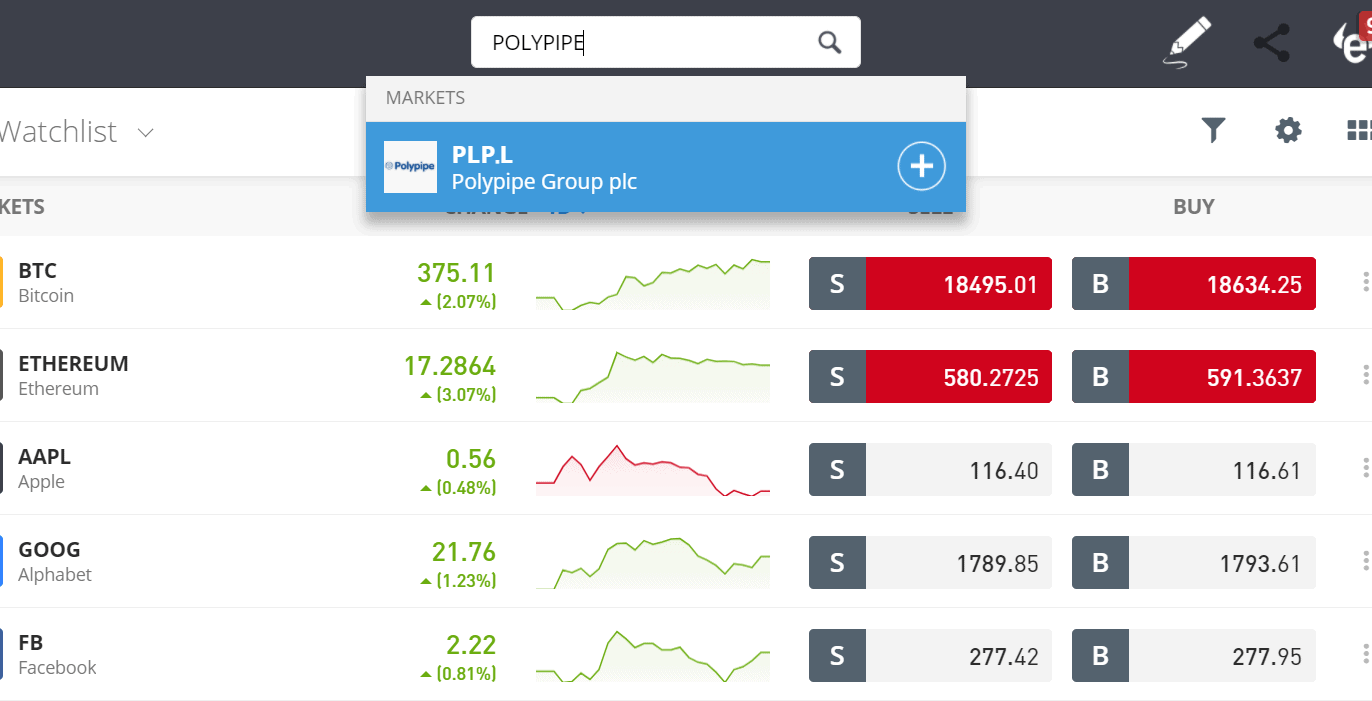 Search for Polypipe shares on eToro
