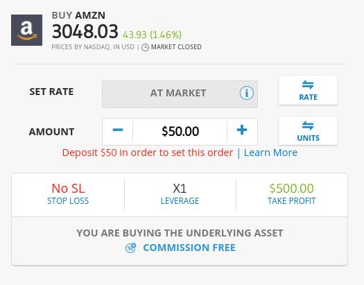 eToro fees on shares