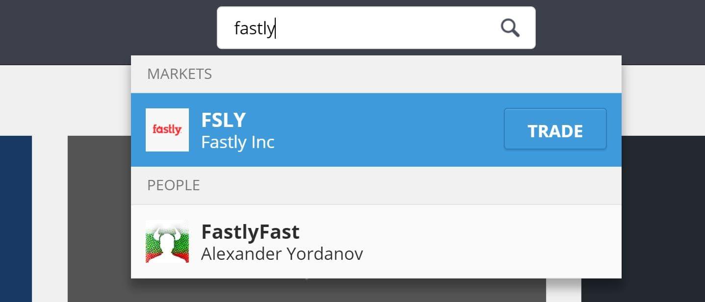 Search Fastly on eToro