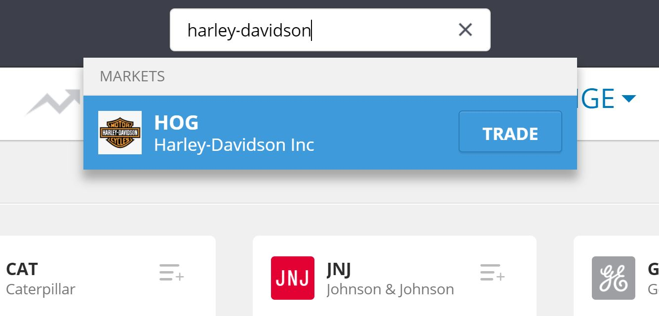 Search Harley-Davidson shares on eToro