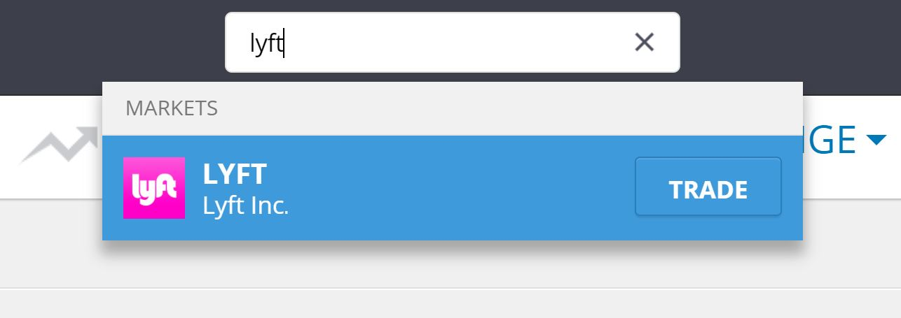 Search Lyft Shares on eToro