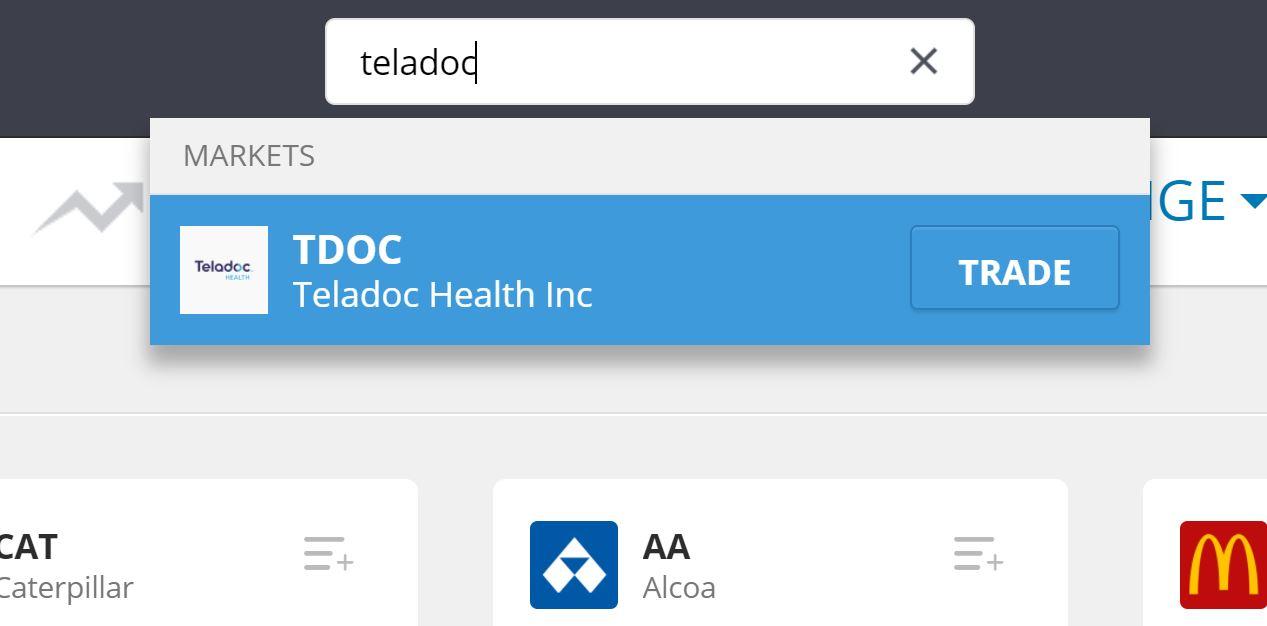 Search Teladoc on eToro