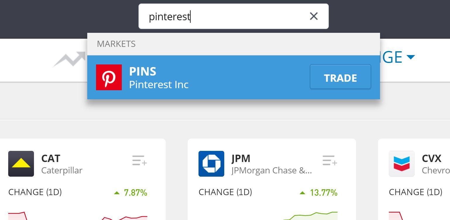 Search for Pinterest on eToro