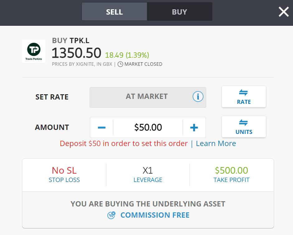 Buy Travis Perkins shares on eToro