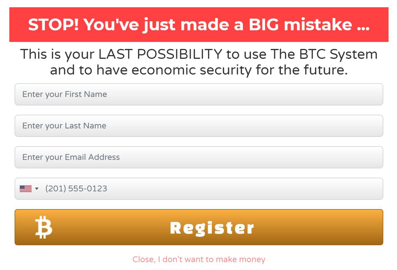 Bitcoin System Registration