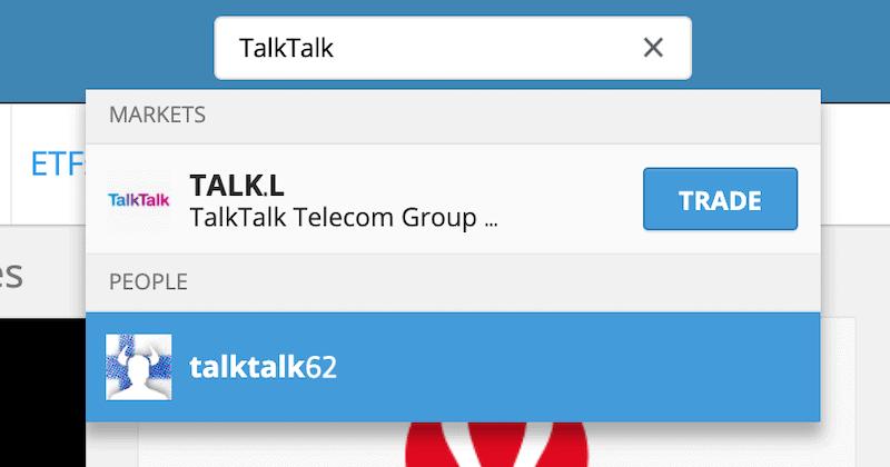 TalkTalk Trade button