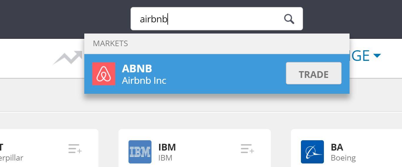 Search Airbnb on eToro
