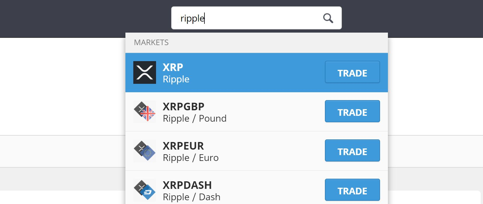 Search Ripple on eToro