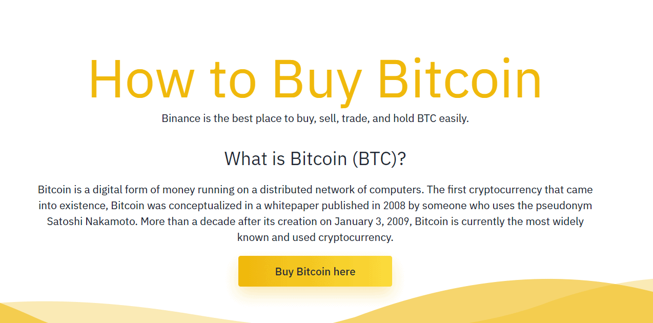 buy bitcoin at binance