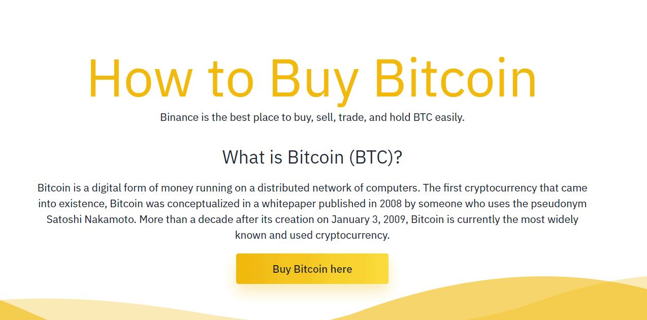 buy bitcoin at binance